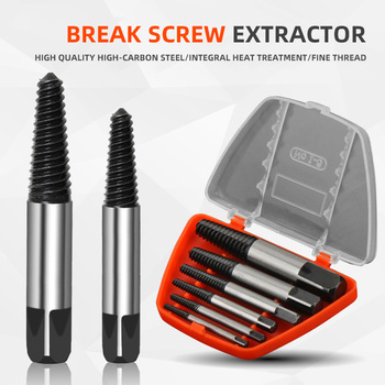 6pcs double side drill out damaged screw extractor,take-off device, slide wire, take-off screw,#1 #2 #3 #4 #5 #6 With Case