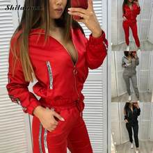 2021 Zipper Sportwear Frühling Herbst Casual Frauen Langarm Mantel Und Hosen Straße Outfits Zwei Stück Set Weibliche Trainingsanzug Sets