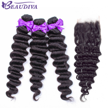 Deep Wave Bundles With Closure Hair closure Brazilian Weave Human Remy