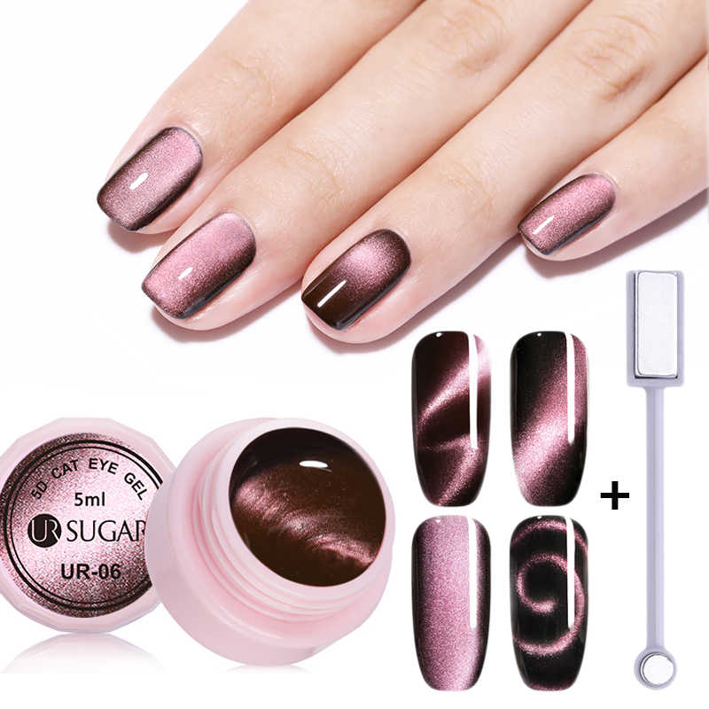 UR Gula Magnet Kuku Gel Polandia 5D Cat Eye UV Gel Nail Polish Chameleon Magnetic Gel Pernis Rendam Off Enamel