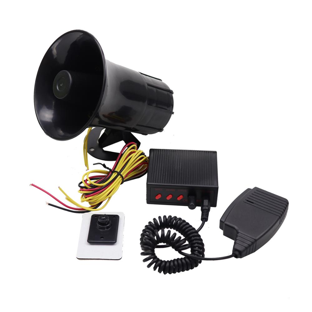 YHAAVALE <font><b>50W</b></font> Car Police Siren <font><b>Speaker</b></font>,3 Tone Sound,DV12V,Volume Adjustment,Car Horn Vehicle Horn with Mic Loudspeaker Emergency image