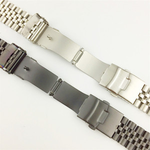 Image 4 - Silk Glossy Stainless Steel watchband 18mm 20mm 22mm 23mm 24mm 26mm Watch Band Double Lock Buckle Replacement Watch Strap w Tool