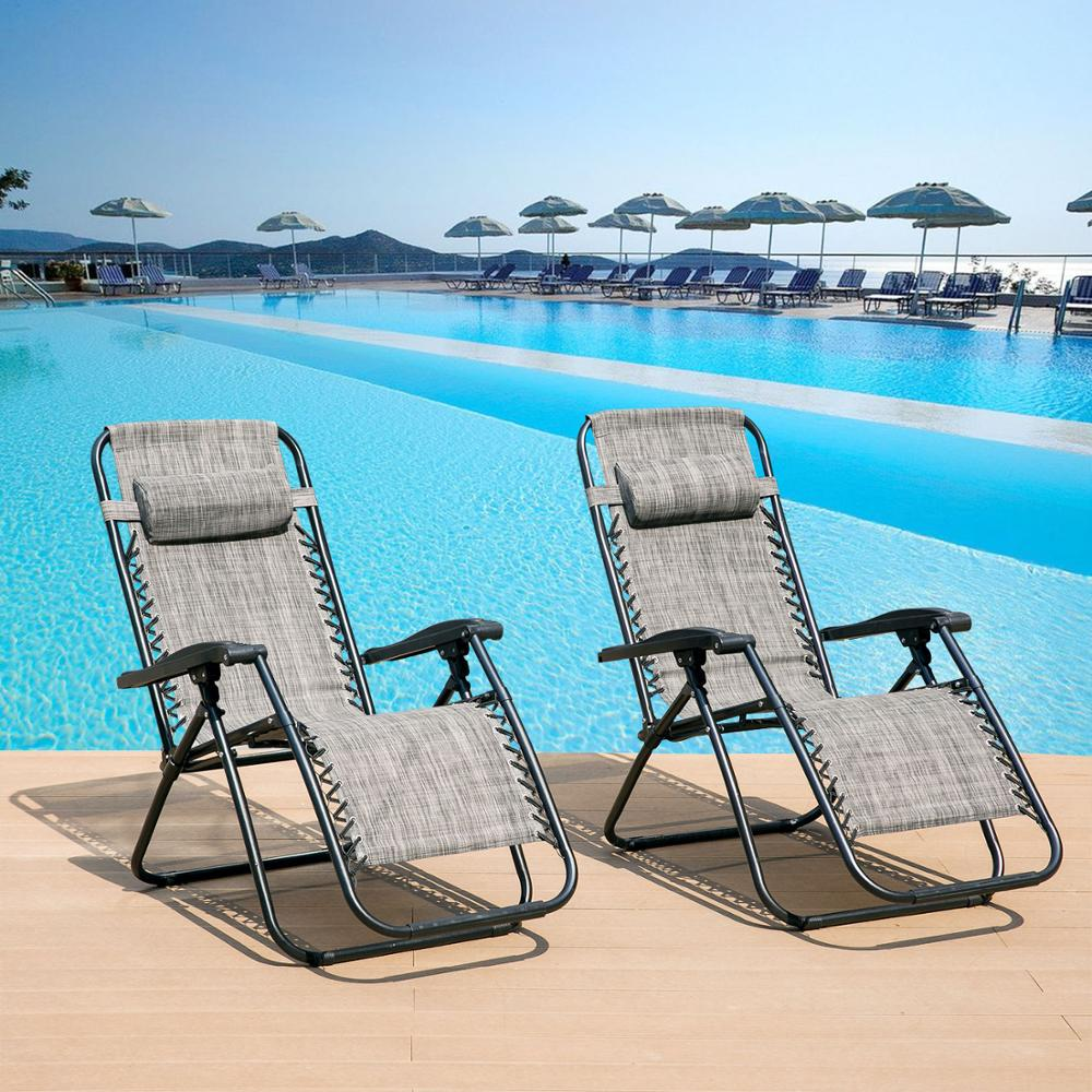 2 PCS/Set Of 2 Heavy Duty Textoline Zero Gravity Chairs Garden Outdoor Patio Out Door Home Furniture Sun Loungers Folding Chairs