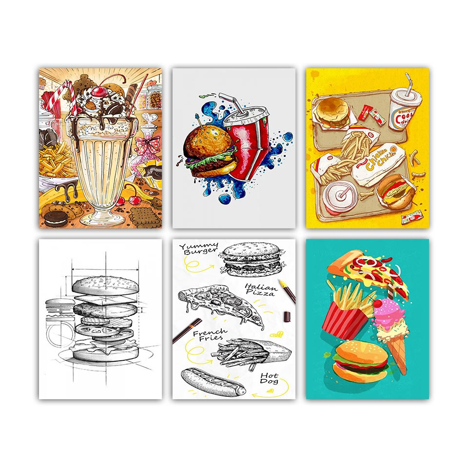 Nordic-Printed-Posters-Style-Home-Wall-Art-Food-Hamburg-Coke-Pizza-Painting-Canvas-Kitchen-Decoration-Modern (2)