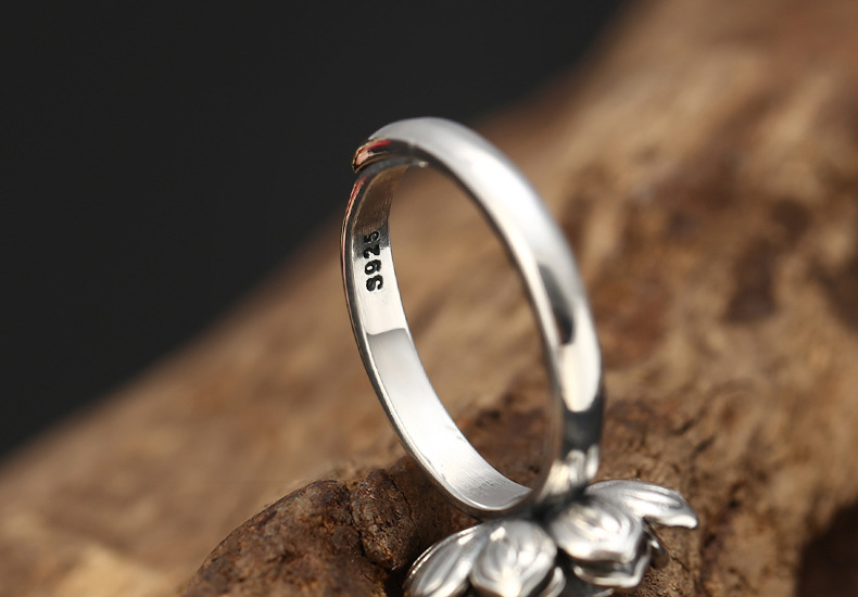 retro lotus flower ring solid s925 sterling silver open ring