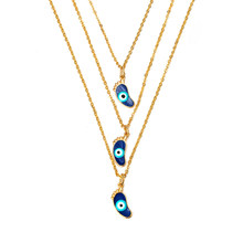 MEIBEADS 1pc Bohemian Jewelry Vintage Charm Foot Gold Choker Necklace Multilayer Crystal Moon Necklaces & Pendants For Women(China)