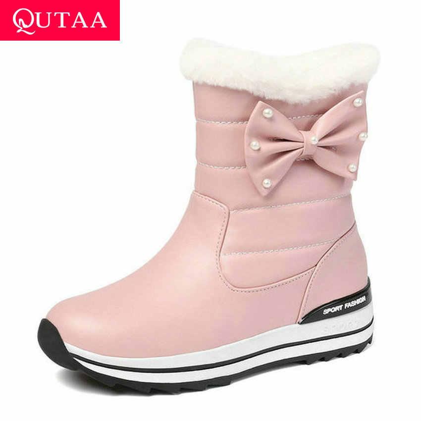 QUTAA 2020 kış sıcak kürk kadın ayakkabı platformu peluş kar botları PU deri takozlar kelebek-düğüm üzerinde kayma yarım çizmeler boyutu 34-43