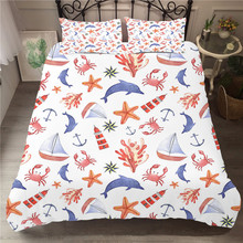 Bed Linen Cute Cartoon Duvet Cover Set Sea Shell Printed Bedding Clothes King Size with Pillowcases