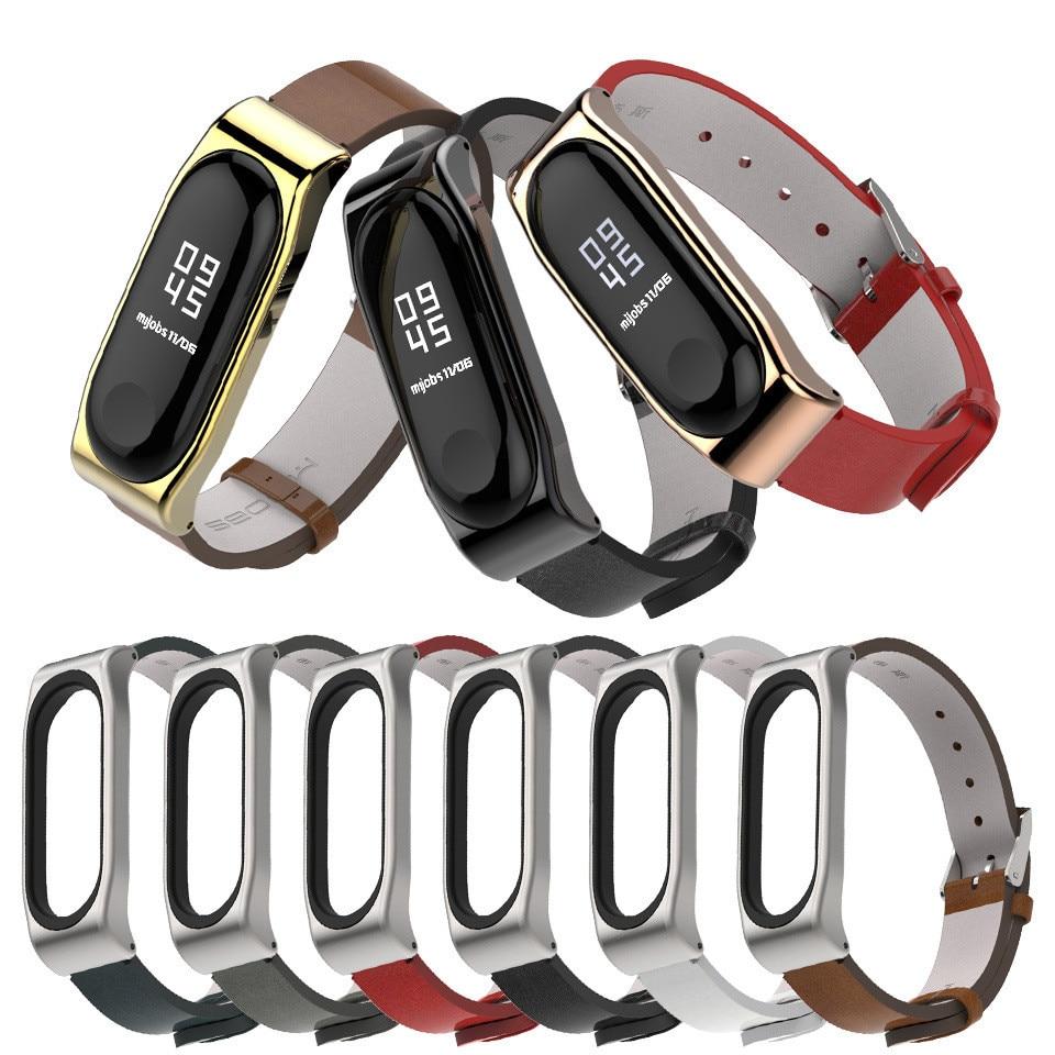 Mi Band 4 Strap PU Leather Watchband Bracelet For Xiaomi Mi Band 3 Miband 4 3 Wristbands Strap Reloj For Xiaomi Mi Band 4 3