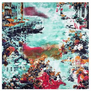 Image 5 - 2020 New Winter Scarf Van Goghs Oil Painting Luxury Brand Twill Silk Wholesale Square Scarf Kerchief Shawl Scarves For women