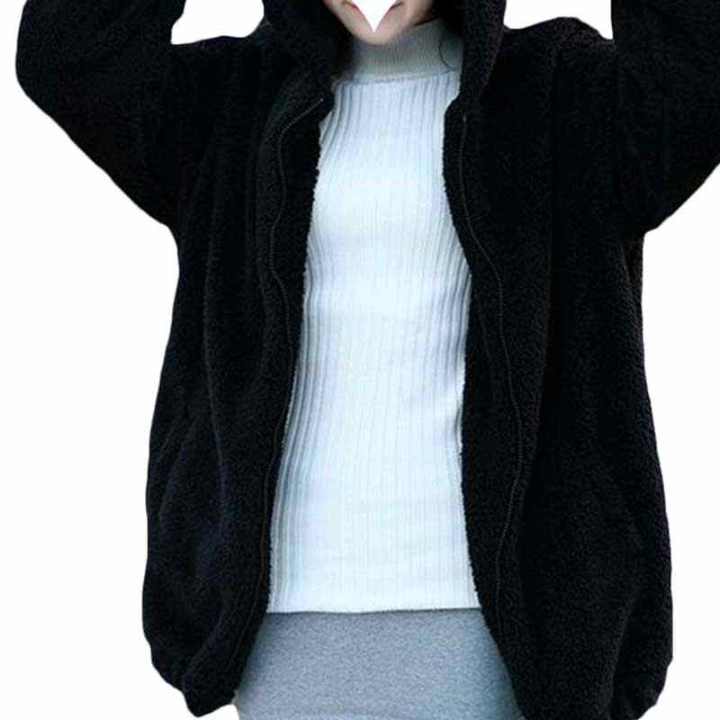 Sfit 2020 ผู้หญิง Hoodies ซิปผู้หญิงฤดูใบไม้ร่วงหลวมหมีหู Hoodie Hooded แจ็คเก็ตอุ่น Outerwear เสื้อน่ารักเสื้อ