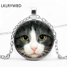 LKLRYWBD / Fashion Retro Cat Round Glass Pendant Necklace Jewelry