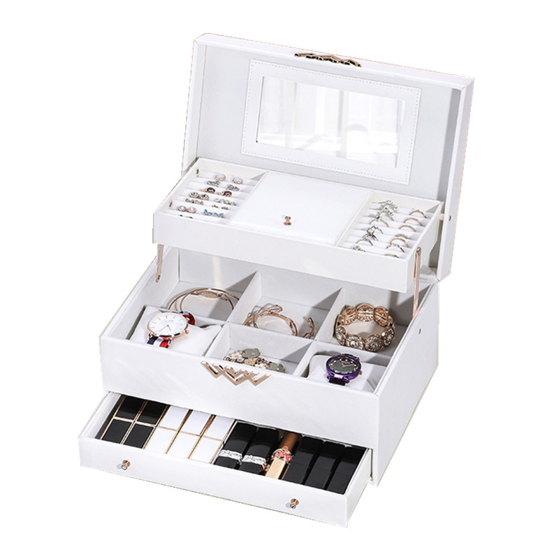 High-end Jewelry Box European Korea Multi-layer Drawer Separation Simple Earrings Leather Jewelry Storage Box Tray Jewelry Box