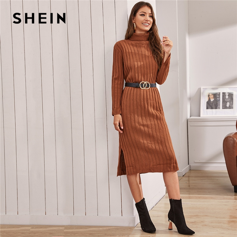 SHEIN Funnel Neck Solid Ribbed knit Sweater Dress Without Belt Women Winter Long Sleeve Ladies Split Hem Midi Casual Dresses 2