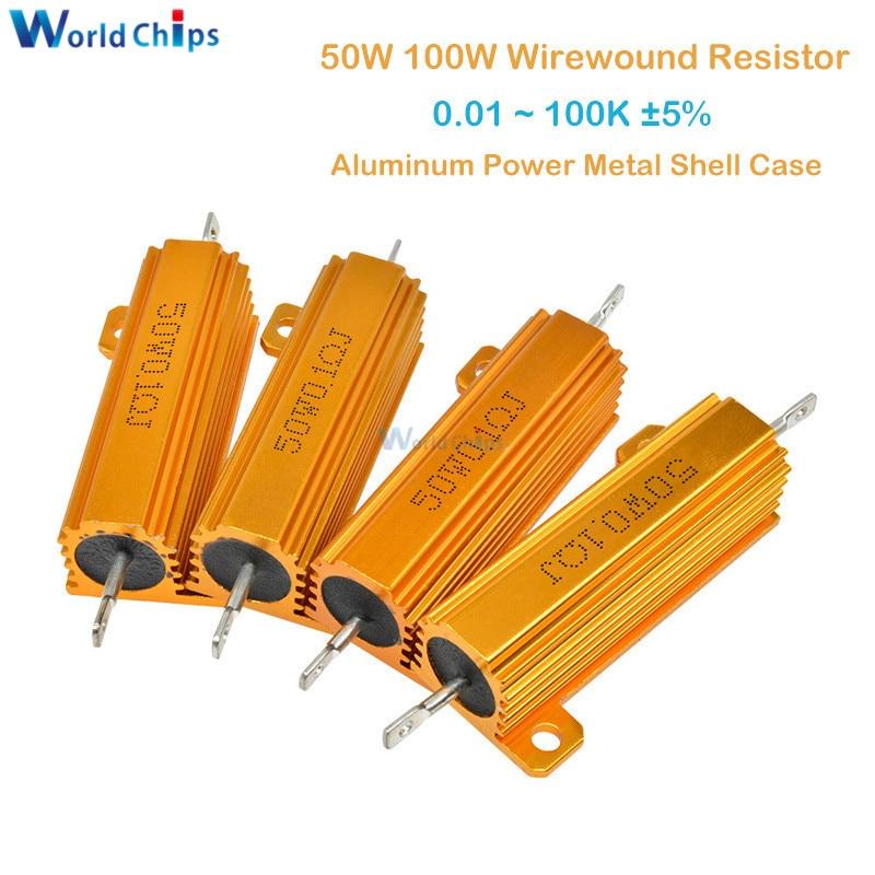 Estojo de metal resistor de wirewound, 50w 100w 0.5r 1r 2r 4r 6r 8r 10r 20r, de alumínio ~ 100k 0.5 1 2 4 6 8 10 20 100 ohm