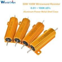 50W 100W 0.5R 1R 2R 4R 6R 8R 10R 20R Aluminium Power Metal Shell Case Draadgewonden Weerstand 0.01 ~ 100K 0.5 1 2 4 6 8 10 20 100 Ohm