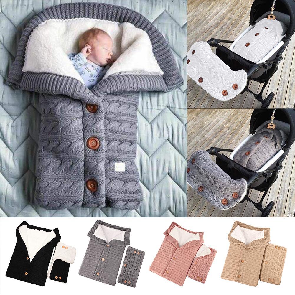 Baby Sleeping Bag Baby Thickening Plus Velvet Knit Warm Sleeping Bag Wool Stroller Sleeping Bag