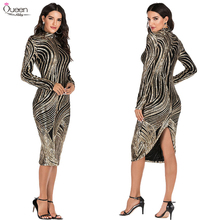 Sexy Sequined Cocktail Dresses Tea Length Asymmetrical Queen Abby High Neck Long Sleeves Elegant Wedding Guest Gowns For Party