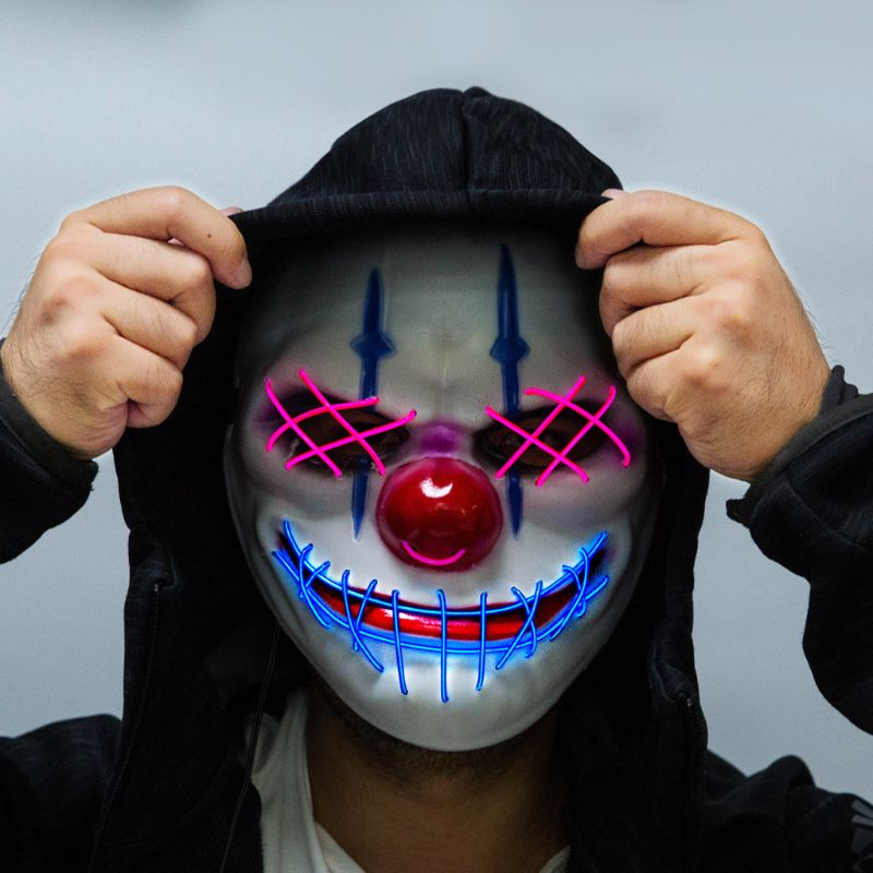 Halloween Big Mouth Clown Glowing Mask LED Cold Light Horror Scary Dress Up 831F