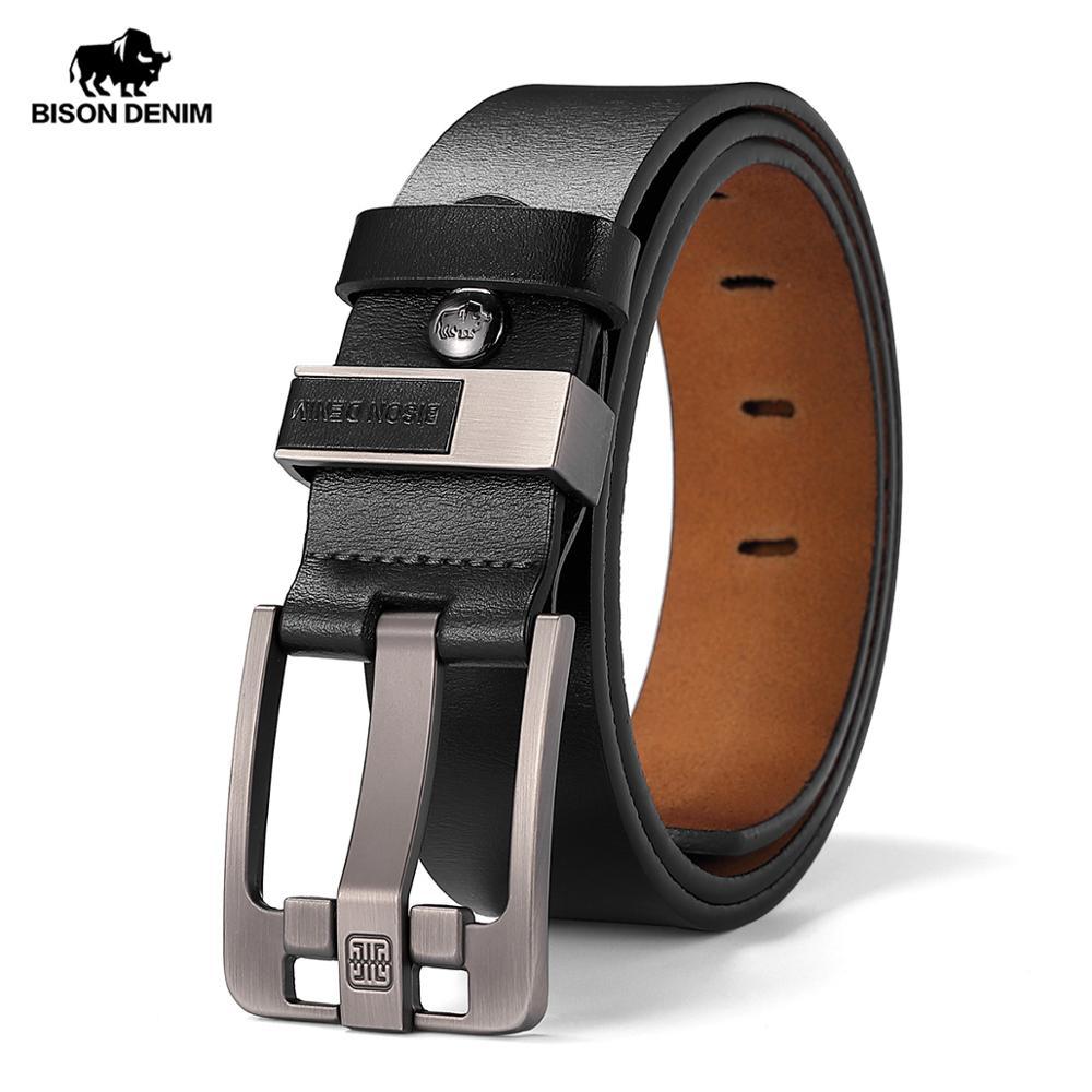 BISON DENIM Genuine Leather Vintage Belt For Men Alloy Pin Bcukle Classic Cowskin Strap Fashion Casual Buisness Men Belt W71590