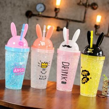 450ML Kawaii Bunny Ear Drinking Straw Bottle Creative Cute Rabbit Ice Cup Kpop Fashion Double Straw Plastic Cartoon Mug for Girl 1