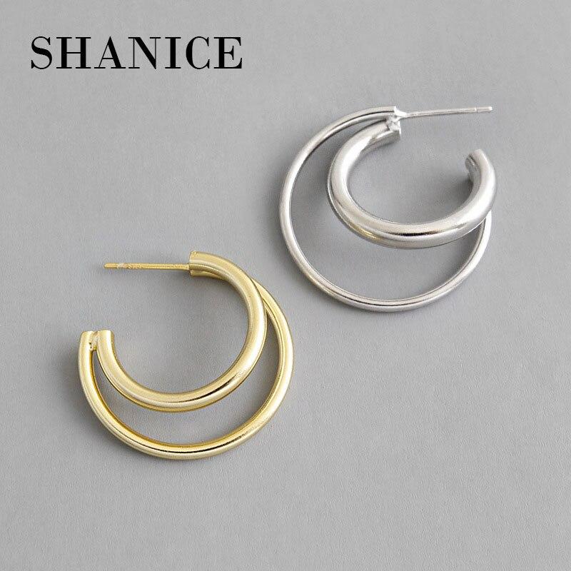 SHANICE Charme 100% 925 Sterling Silber INS einfache nische geometrie kreuz doppel kreise schleife Stud Ohrringe für Frauen edlen schmuck