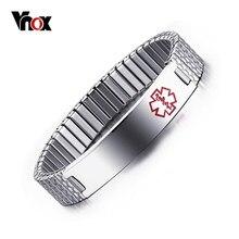 Vnox ze stali nierdzewnej Alert medyczny Stretch regulowany nadgarstek bransoletka ID bransoletka dla kobiet niestandardowe grawerowanie