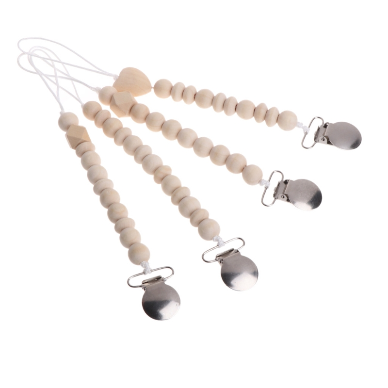Baby Natural Wooden Beaded Pacifier Holder Clip Nursing Teether Dummy Chain Gift