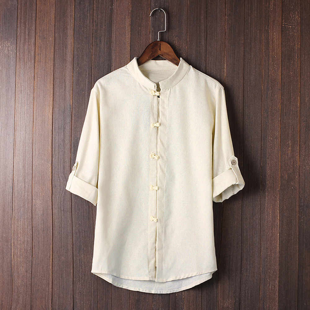 男性のシャツカミーサ古典的な中国風のカンフー男性ブラウストップ唐装 3/4 袖リネンシャツストリートカミーサ masculina