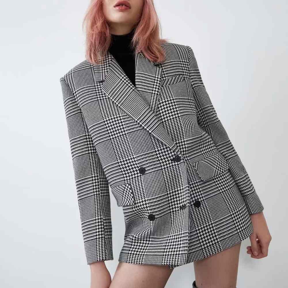 ZA estilo Otoño Invierno mujeres traje casual vintage elegante a cuadros chaqueta de tweed mujer pata de gallo lana chaqueta de calle mujeres