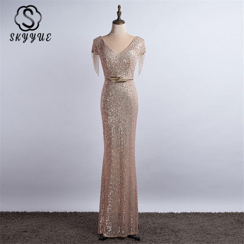 Skyyue Evening Dress Champagne Gold Sequined Beading Women Party Dresses K044 2019 New Formal Gowns Long Mermaid Robe De Soiree