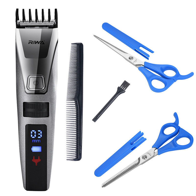 Riwa Electric Rechargeable Hair Trimmer Cutter Men's Hair Clipper Haircut+2Pcs Scissor Cutting Shear Thinning Trim Accessory