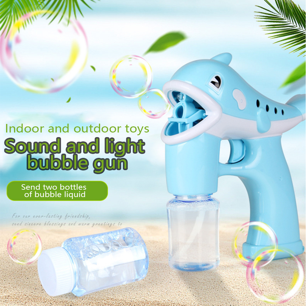 Children's Toy Dolphin Bubble Machine Automatic Cartoon Music Light 2 Bottles Bubble Water Summer Fun Outdoor Water Toy