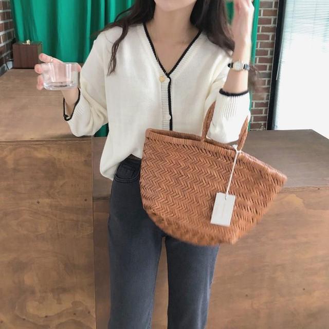 Koreanische Frauen Herbst Gestrickte Pullover Strickjacke Schlank Passt Elegante Einreiher Pullover Casual Langarm Lose Mantel