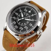 Romantische Geschenken 42Mm Corgeut Zwarte Wijzerplaat Lichtgevende Handen Saffierglas Gepolijst Lederen Band Automatische Mechanische Mannen Horloge