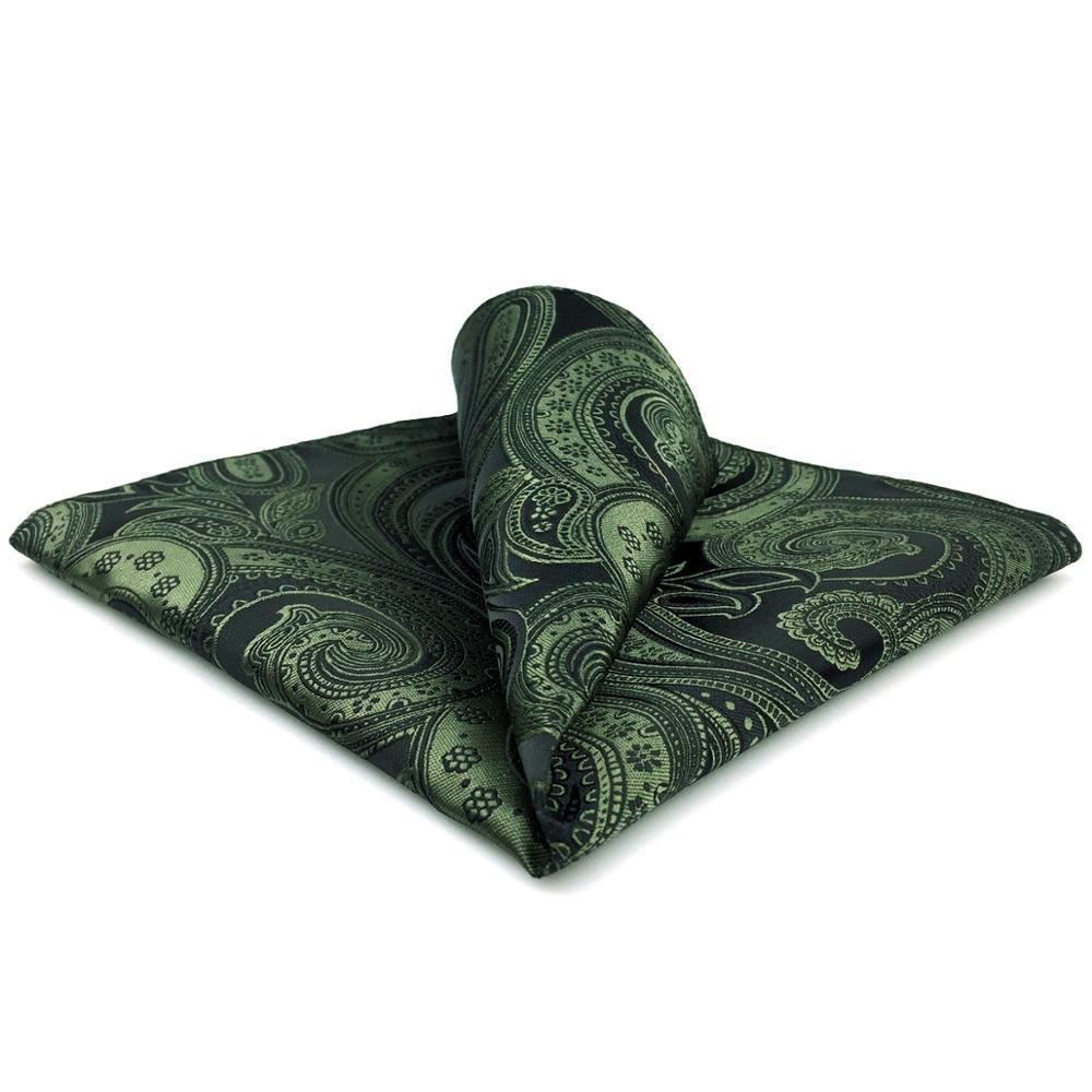 YH30 Dark Green Paisley Pocket Square For Men Handkerchief Silk Classic