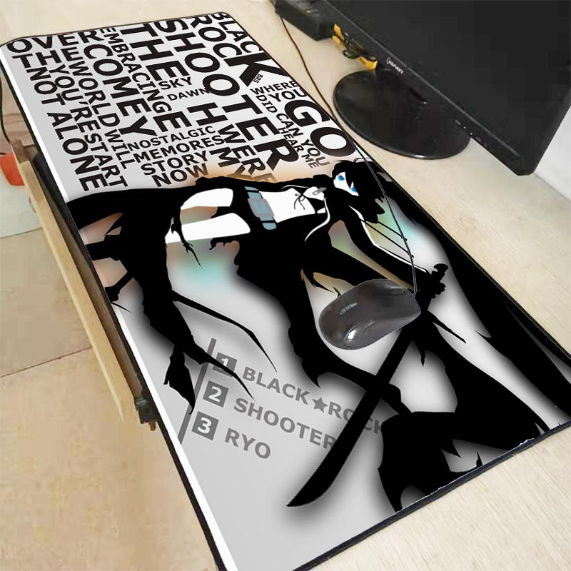 XGZ Black Rock Shooter Anime Large Gaming Mouse Pad Lock Edge Mouse Mat Laptop Computer Keyboard Pad Desk Pad For Dota  Mousepad