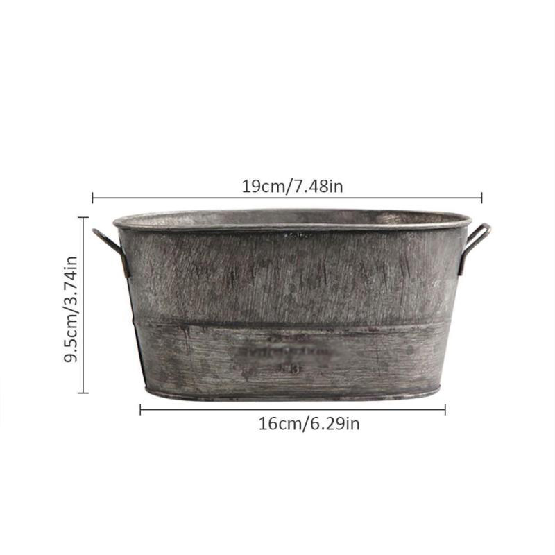 16CM METAL TIN HERB FLOWER BUCKET  POT PLANTER SWEET TREE with wooden handle