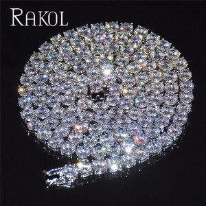 Image 4 - RAKOL collana con catena da Tennis in zirconi cubici di lusso Hiphop gioielli di alta qualità con chiusura a scatola CZ per donna uomo 3mm 4mm 5mm rotondo