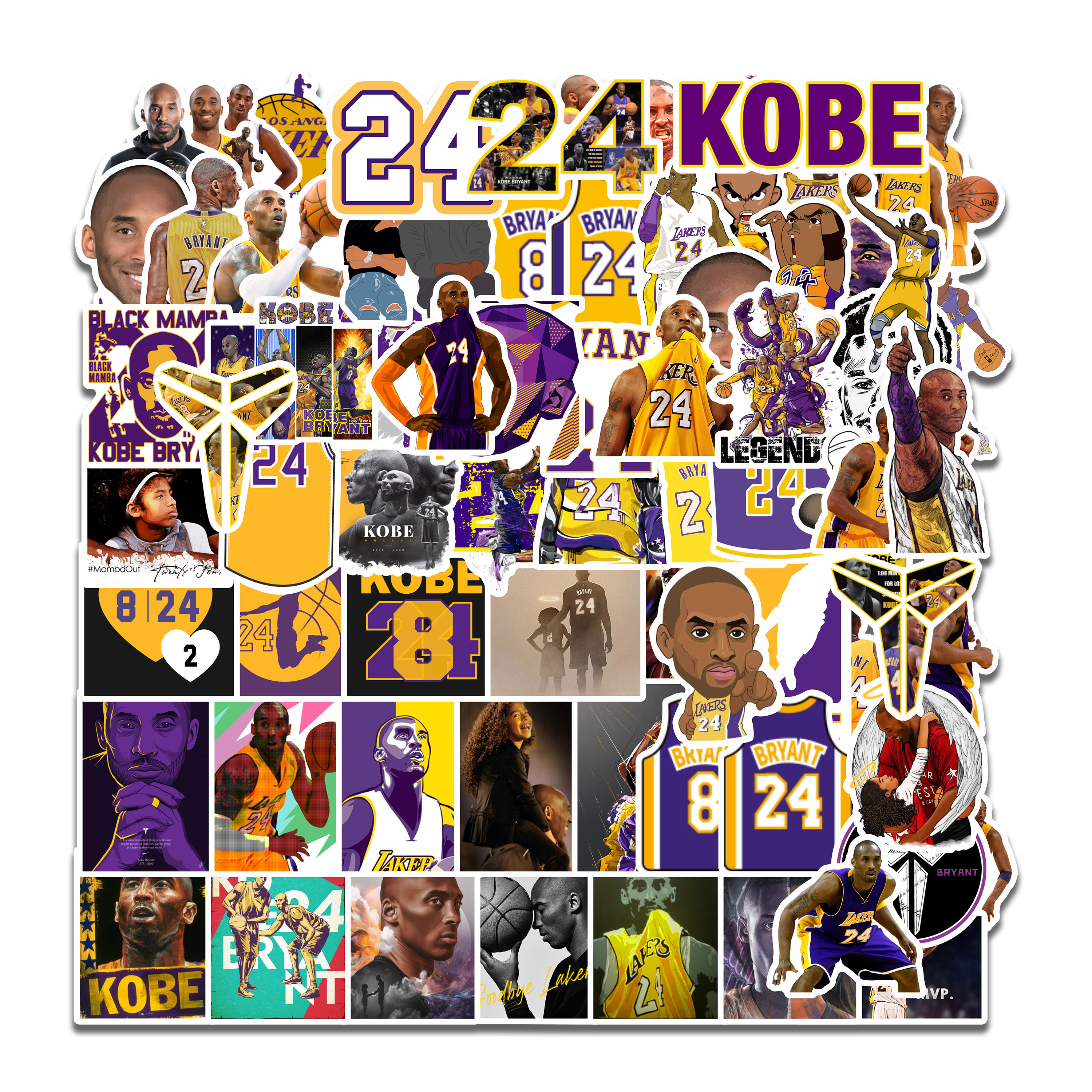 75pcs/Pack Basketball Stickers Kobe Bryant Sticker Waterproof Kids Toy Stickers For Luggage Laptop Phone Skateboard Decal