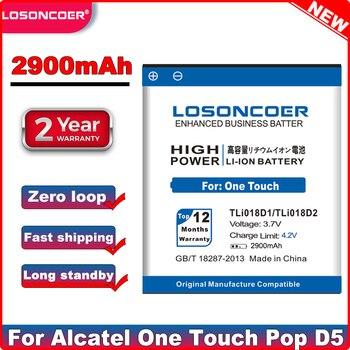 LOSONCOER 2900mAh TLi018D1 TLi018D2 סוללה עבור Alcatel One Touch פופ D5 כפולה 5038x OT5038X פופ 3 5015D OT 5016 batterie