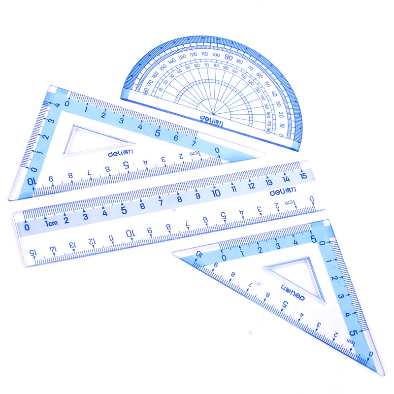Deli 9594 Students Ruler Sets Included 15cm Ruler + 45-Degree Triangle Ruler + 60-Degree Triangle Ruler + Protractor