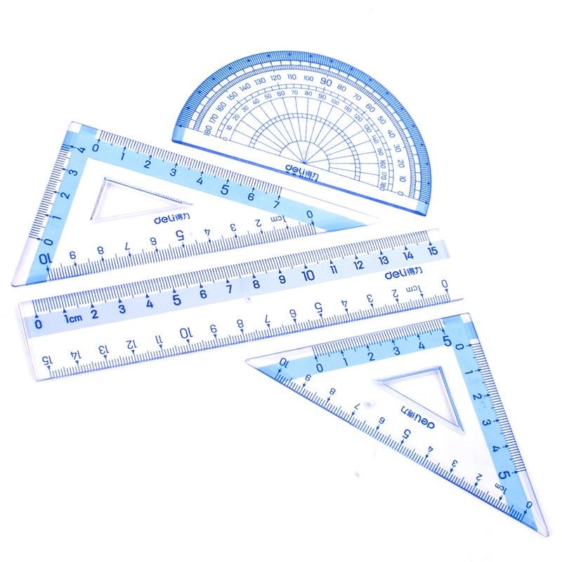 Deli 9594 Students Ruler Sets Included 15cm Ruler + 45-Degree Triangle Ruler + 60-Degree Triangle Ruler + Protractor