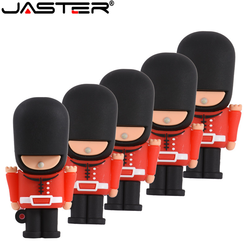JASTER New Hot USB Flash Drive Pendrive Handsome British Guard Cartoon Pen Drive 16G 32G 64GB Usb 2.0 Memory Stick Free Shipping