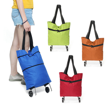 Women Foldable Shopping Cart Bag Portable Shopping Trolley Bag With Wheels Foldable Cart Rolling Grocery Colorful Supermarket cheap Oxford Patchwork Shopping Bags Hasp