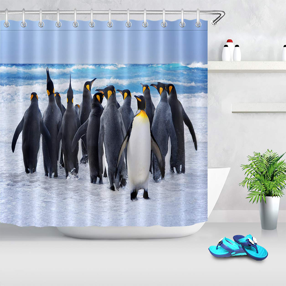 Easy Install Soft Shower Curtain Penguin Printed Mildew Resistant Waterproof Decorative Bathroom Fashion Practical Quick Dry in Shower Curtains from Home Garden