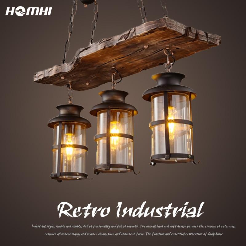 Industrial Luminaire Suspension Horse Retro Lamp American Bar Pendant Lighting  Loft Wood Hanging Light Fixture Luster Rustic