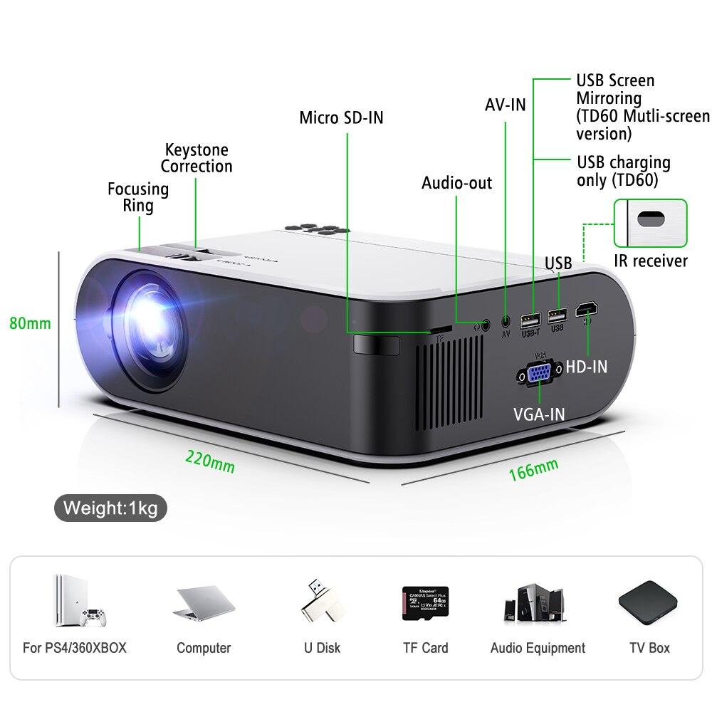 Thundeal TD60 mini portatil projetor full hd 3d led  projector smartphone para espelhamento celular beamer  home cinema em casa wifi android 6,0 sistema multi tela suporte 1080p video sincronização sem fio oferta-5