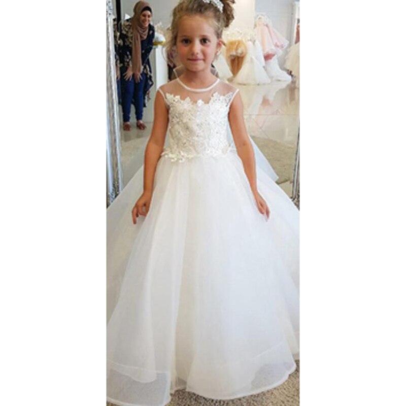 Ball Gown Round Neck Sleeveless Appliqued Flower Girl Dresses With Beading Kid Girls Dress For Little Girls Glitz White Princess