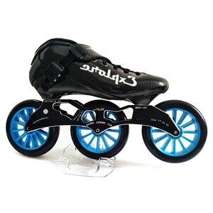 Image 1 - Hızlı tek sıra tekerlekli paten karbon Fiber rekabet paten 3*125mm tekerlekler sokak yarış tren paten Patines çocuklar için yetişkin SH56